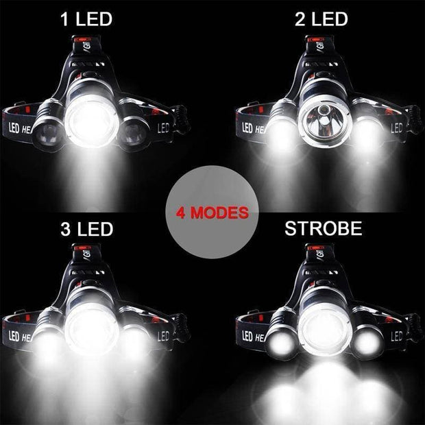 3000LM Headlamp Flashlight Rechargeable 3 T6 R5 LED Hard Hat Headlight - Brag Fishing Australia