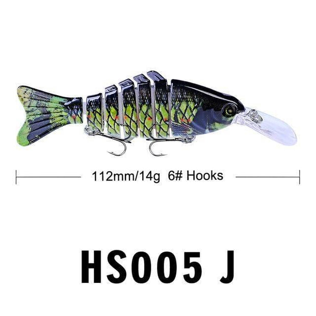 "1pc Swimbait 7 Sections Fishing Lure 11.2cm-4.4""-0.497oz-14.09g Fishing bait 6# Black Hook Fishing Tackle - Brag Fishing Australia"