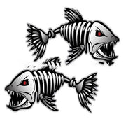2Pcs Skeleton Fish Bones R&L Vinyl Decals Stickers Kayak Fishing Boat Car - Brag Fishing Australia