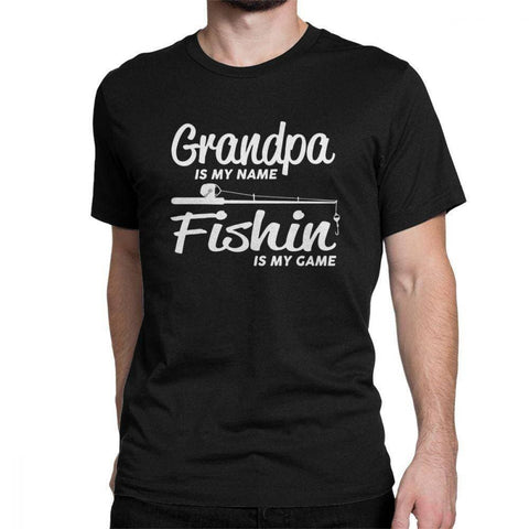 Fishing Grandpa T Shirt for Men Fish Trout Bass Grandfather Grandpa Fishermen Printed Tops Funny T-Shirt O Neck 100% Cotton Tees - Brag Fishing Australia