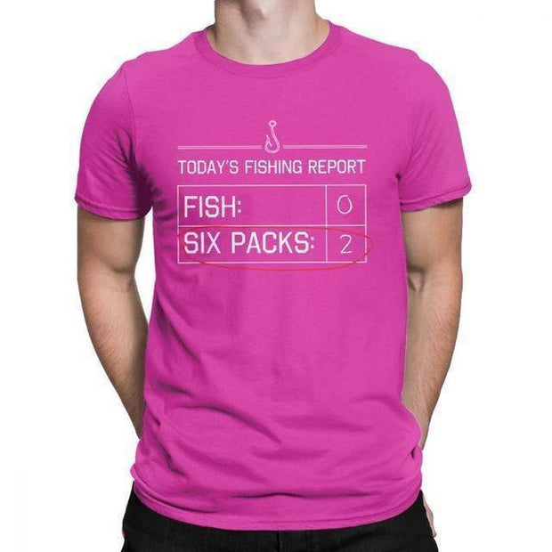 Fishing Report Fish Six-Packs Vintage T Shirts for Men Fishing Short Sleeve Tops Tee Pure Cotton O Neck T-Shirt 4X 5X - Brag Fishing