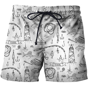 2019 Quick Drying Board Shorts Trunks Fishing Symbols