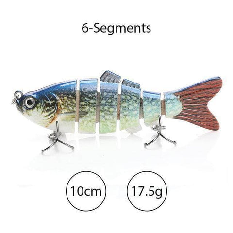 Sinking Wobblers Fishing Lures 10cm 17.5g 6 Multi Jointed Swimbait - Brag Fishing Australia