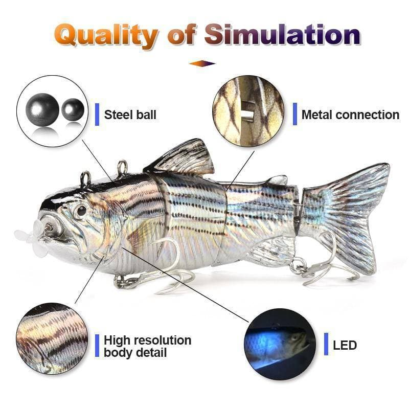 Robotic Fishing lure 4-Segement Swimbait Crankbait USB Rechargeable