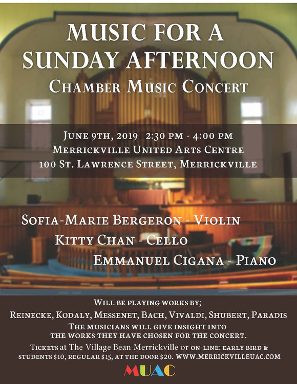 June 9 MUSIC FOR A SUNDAY AFTERNOON CHAMBER MUSIC CONCERT