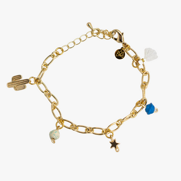ethically made 18k gold plated charm bracelet with paper beads cactus tassel and star charms