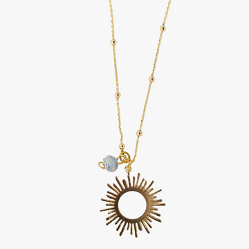 18k gold plated necklace with sun pendant and paper bead
