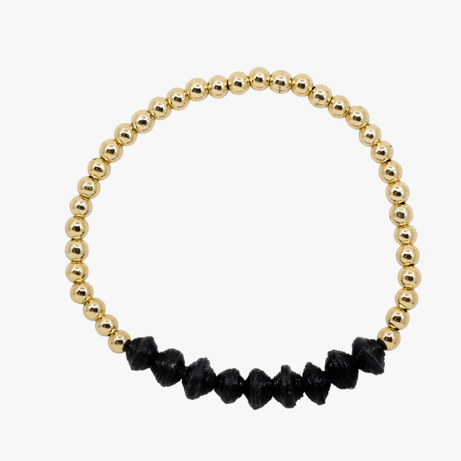 Ethically made bracelet with 18k gold beads and black paper beads