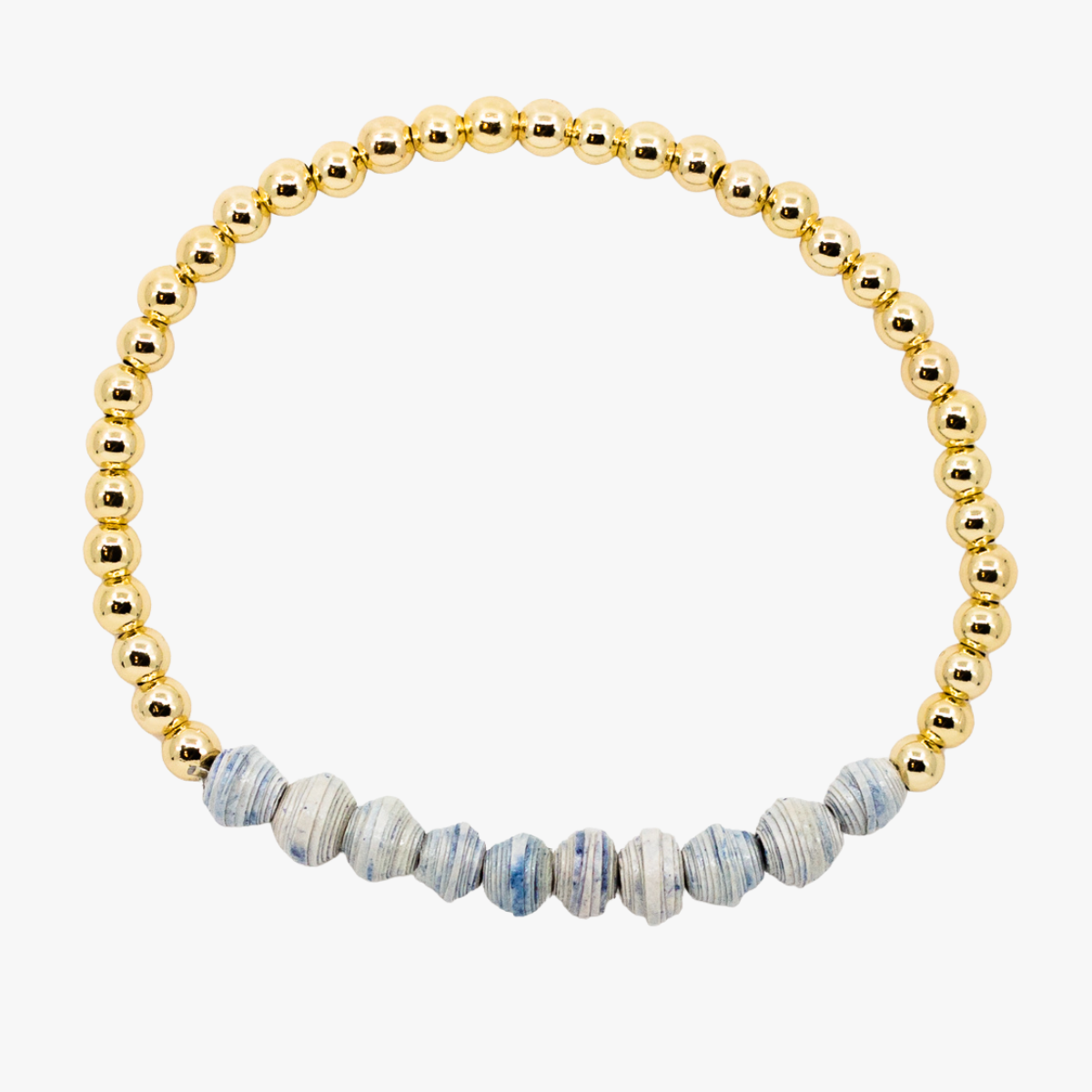 Ethically made bracelet with 18k gold beads and blue paper beads