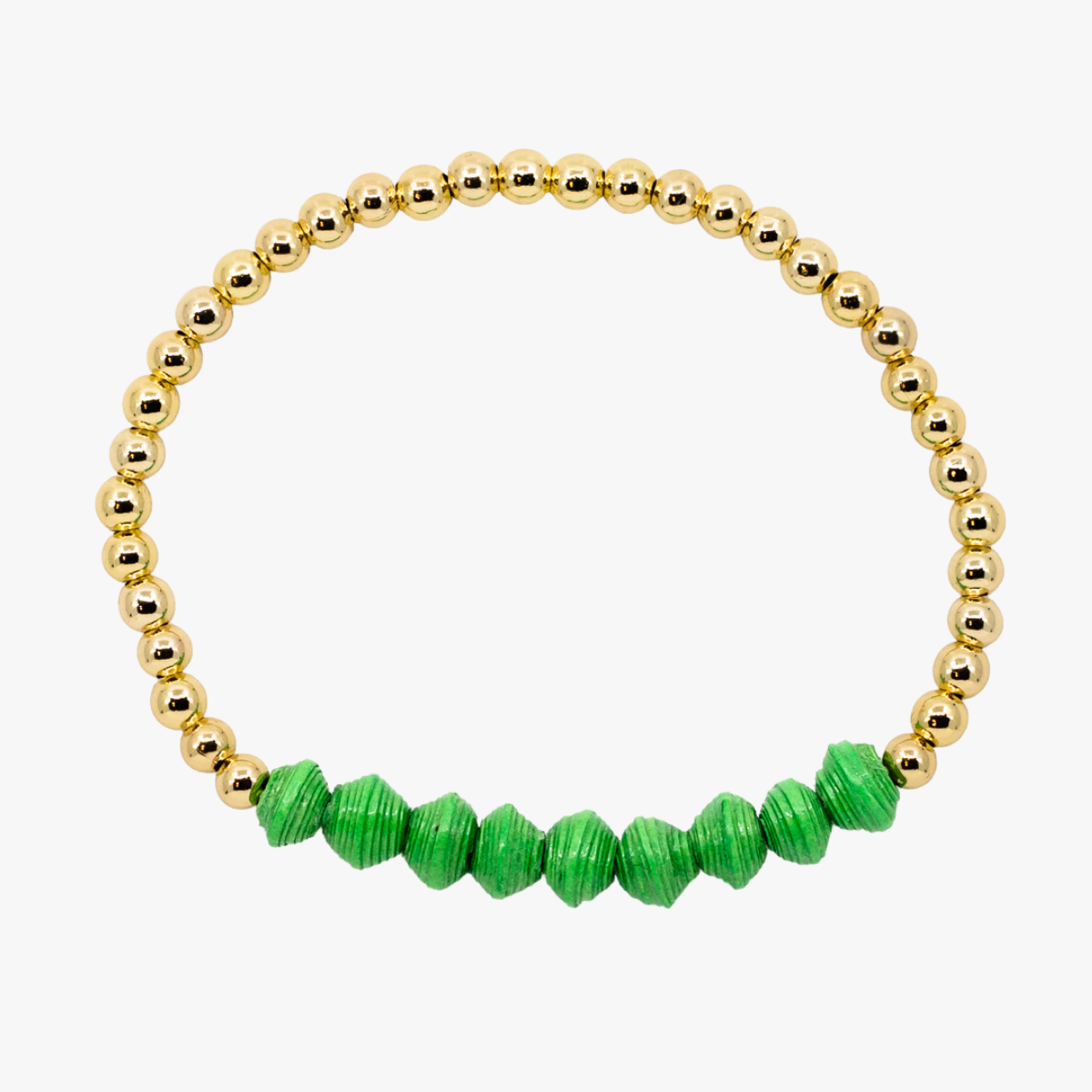 Ethically made bracelet with 18k gold beads and bright green paper beads
