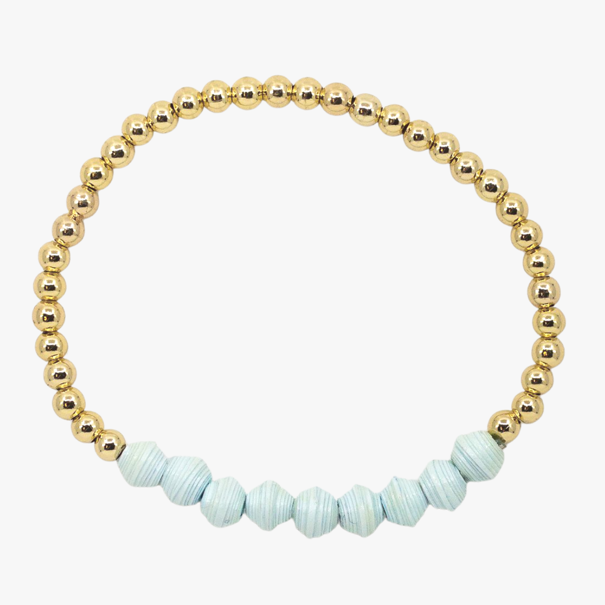 Ethically made bracelet with 18k gold beads and icey blue paper beads