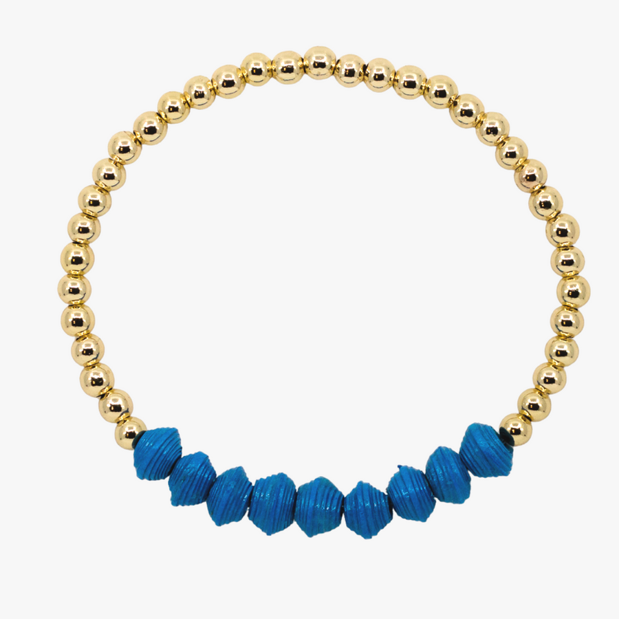 Ethically made bracelet with 18k gold beads and royal blue paper beads