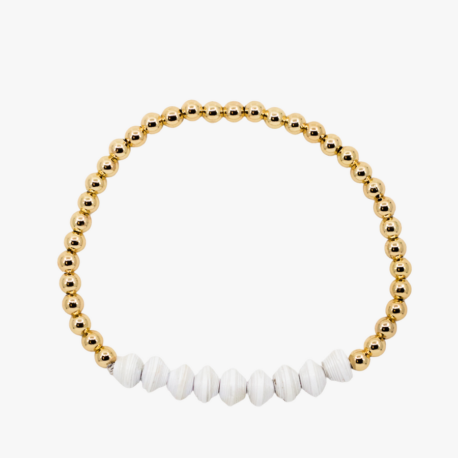Ethically made bracelet with 18k gold beads and white paper beads