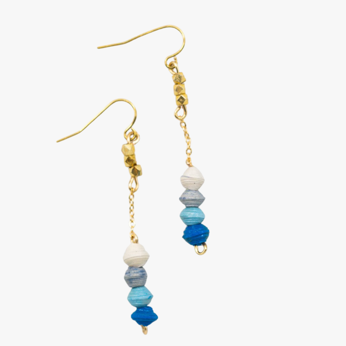 Ethically made blue ombre beaded drop earrings with 18k gold plated chain