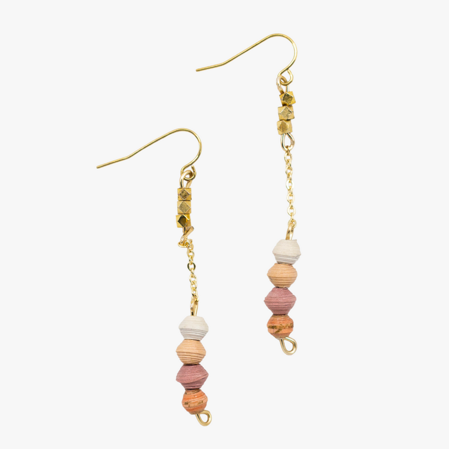 Ethically made pink ombre beaded drop earrings with 18k gold plated chain