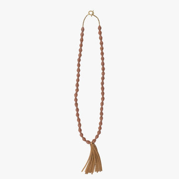 The Chai Necklace: brown handmade paper beads with fair trade certified leather tassel necklace by artisans in the Horn of Africa