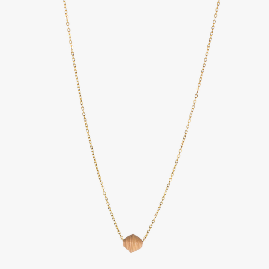 The Dainty Drop Necklace: cream paper bead. A handmade paper bead on 18k gold plated chain necklace made by artisans in the Horn of Africa. Sustainable, Artisan-Made And Ethically Sourced