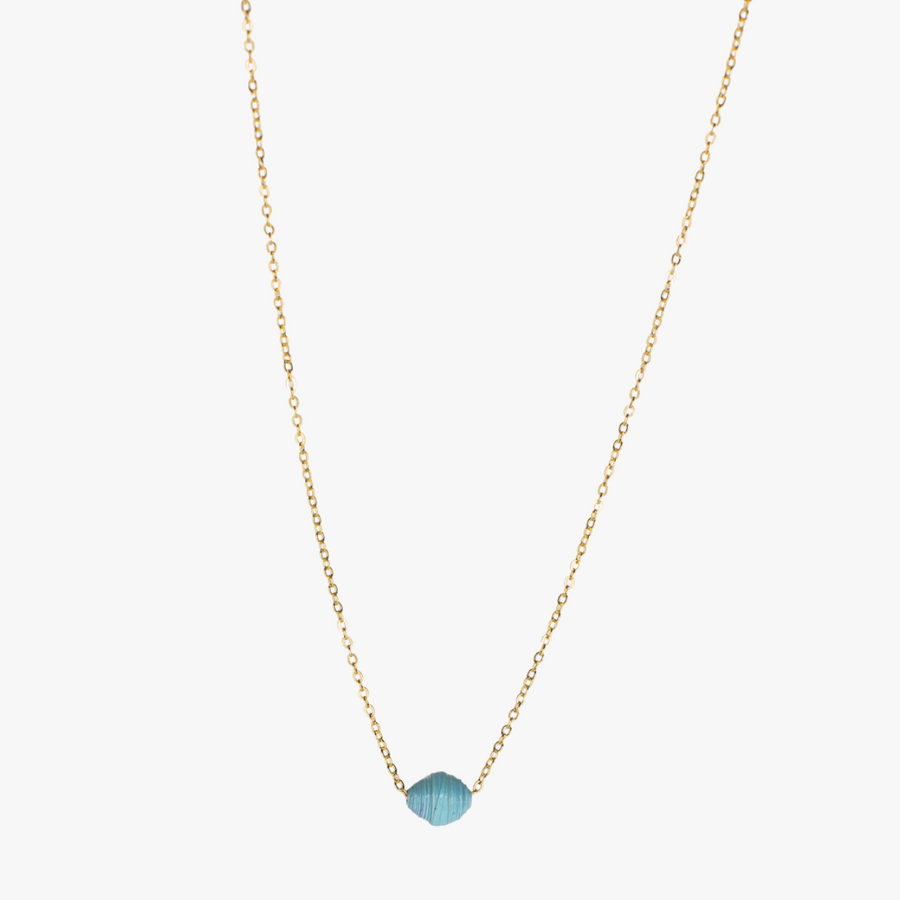 The Dainty Drop Necklace: light blue handmade paper bead on 18k gold plated chain necklace made by artisans in the Horn of Africa. Sustainable, Artisan-Made And Ethically Sourced