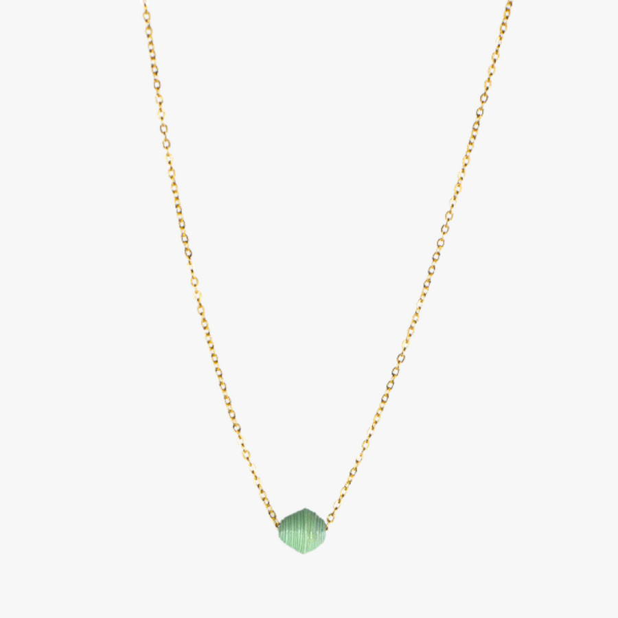 The Dainty Drop Necklace: sea glass handmade paper bead on 18k gold plated chain necklace made by artisans in the Horn of Africa. Sustainable, Artisan-Made And Ethically Sourced