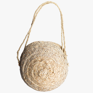 ethically made large round woven purse