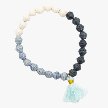 ethically made blue jetsetter tassel bracelet