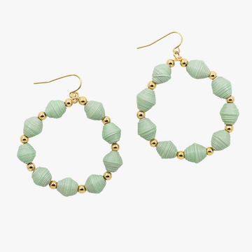 ethically made hoop earrings with sea glass paper beads and 18k gold plated beads