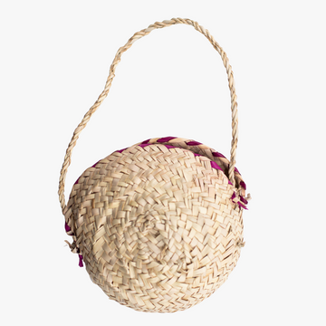 ethically made small round woven purse
