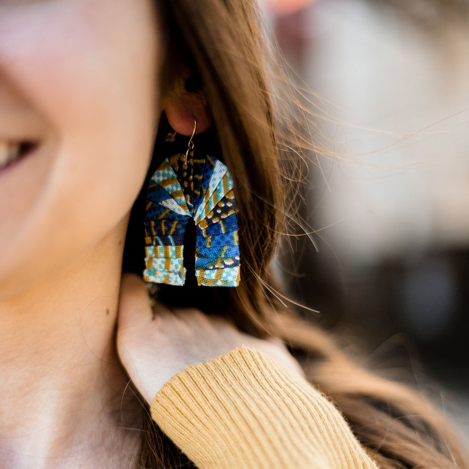 The Fabric Earrings: blue fabric wrapped over recycled materials made by artisans in the Horn of Africa. Sustainable, Artisan-Made And Ethically Sourced