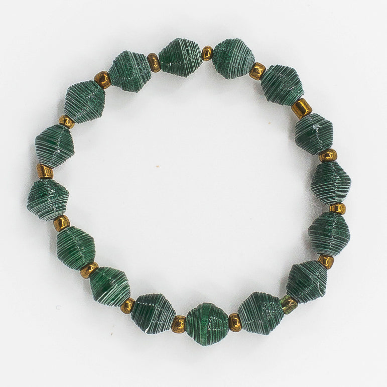 The Hoop Bracelet: green handmade paper bead with fair trace brass beads bracelet by artisans in the Horn of Africa. Sustainable, Artisan-Made And Ethically Sourced