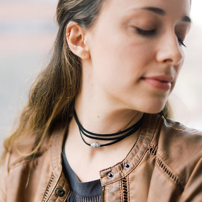 The Leather Wrap Necklace: Grey handmade paper bead with faux vegan leather necklace made by artisans in the Horn of Africa. Sustainable, Artisan-Made And Ethically Sourced
