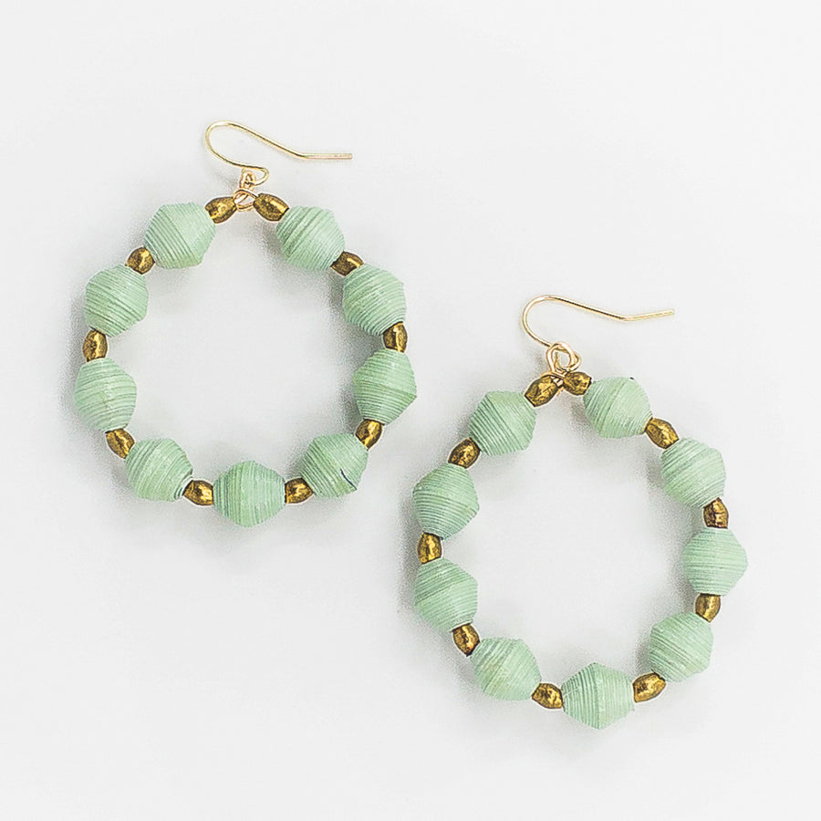 The New Hoop Earrings: sea glass handmade paper bead with brass Ethiopian beads earrings by artisans in the Horn of Africa. Sustainable, Artisan-Made And Ethically Sourced
