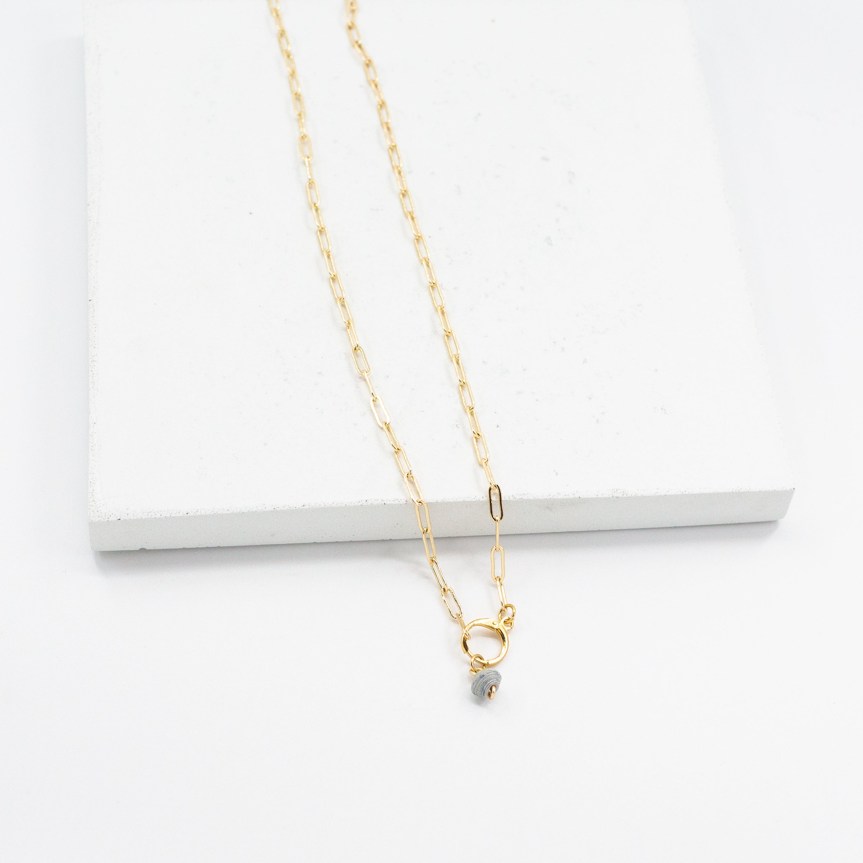 The Paperclip Chain Necklace with Birthstone Beads