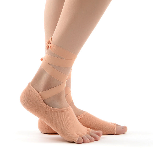 Hot Sale 3 Colours Women Yoga Socks Five Toe Anti Slip Gym Dance Ladies Socks With Ribbons Cotton Socks Free Shipping - yogastoreefw