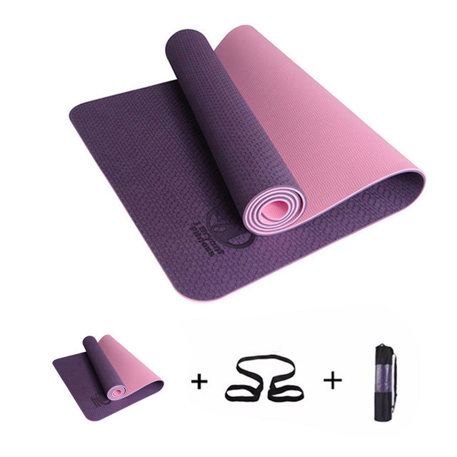 183x61x0.6cm None-Slip Yoga Mat TPE with Bag and Rope Double Layers Fitness Gym Exercise Mat Gymnastics Mats - yogastoreefw