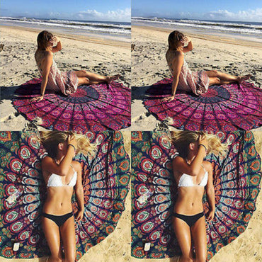 Indian Yoga Blankets Round Mandala Tapestry Wall Hanging Throw Towel Beach Yoga Mat Decor LXC - yogastoreefw