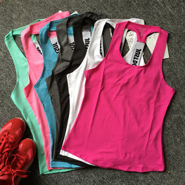 Women Gym Sports Vest Sleeveless Shirts Tank Tops Vest Fitness Running Clothes Tight Quick Dry Tank Tops Singlets P067 Yoga Top - yogastoreefw