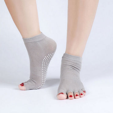 Top Selling New Good Sport Half Toe Yoga Socks Non-Slip Peep Toe Yoga Anti-Slip Durable Cotton Socks Comfort 6 Colors Socks - yogastoreefw