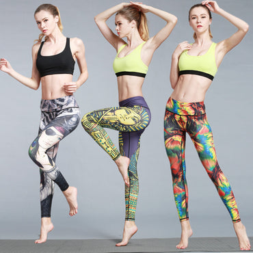 Women Fitness Yoga Pants Women Fitness Slim Sexy Yoga Leggings Elastic Pants High Waist Ladies  Running Tights Sportswear HK46 - yogastoreefw