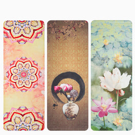 1.5mm Ultra thin Natural Rubber Slip-resistant Yoga Mats yoga blanket Folding Fitness Mat High Temperature Suede Travel Printing - yogastoreefw