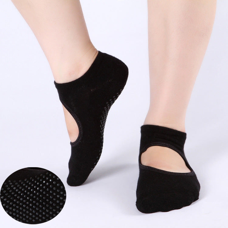 1Pair Women Sports Fit Yoga Socks Anti Skid Breathable Fitness Pilates Socks Dancing Gym Non Slip Cotton Sock Heel Stockings - yogastoreefw
