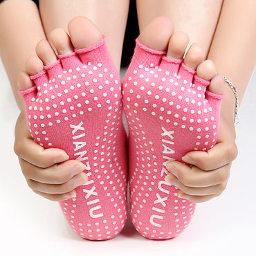 Women Yoga Socks Half Toe Non Slip Ladies Massage Sport Socks Half-fingers Cotton Warm Exercise Running Hose Free Shipping - yogastoreefw