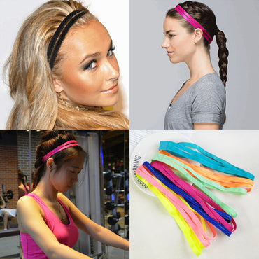 Helisopus Double Sports Elastic Headband Basketball Yoga Anti-Slip Sweatband Curl Hair Band Running Fitness Head Sweat Band - yogastoreefw