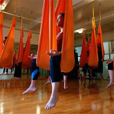 Elastic 5 meters 2017 Aerial Yoga Hammock Swing Latest Multifunction Anti-gravity Yoga belts for yoga training Yoga for sporting - yogastoreefw