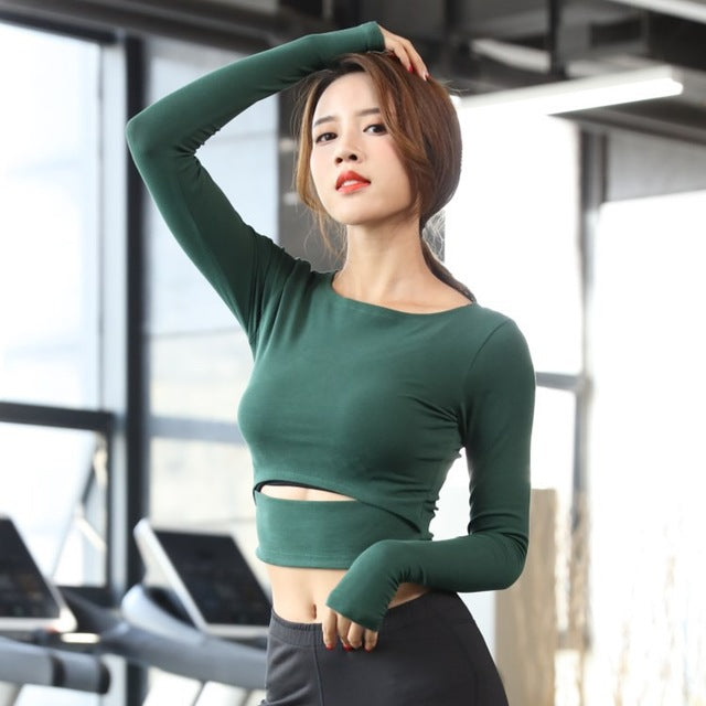 c9f5c159e18265 Mermaid Curve Sexy Bare midriff Yoga shirt Solid Ballet Yoga Top Slimming  Workout Tee Long Sleeve