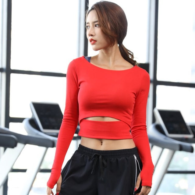1fe4073a71ef2 Mermaid Curve Sexy Bare midriff Yoga shirt Solid Ballet Yoga Top Slimming  Workout Tee Long Sleeve
