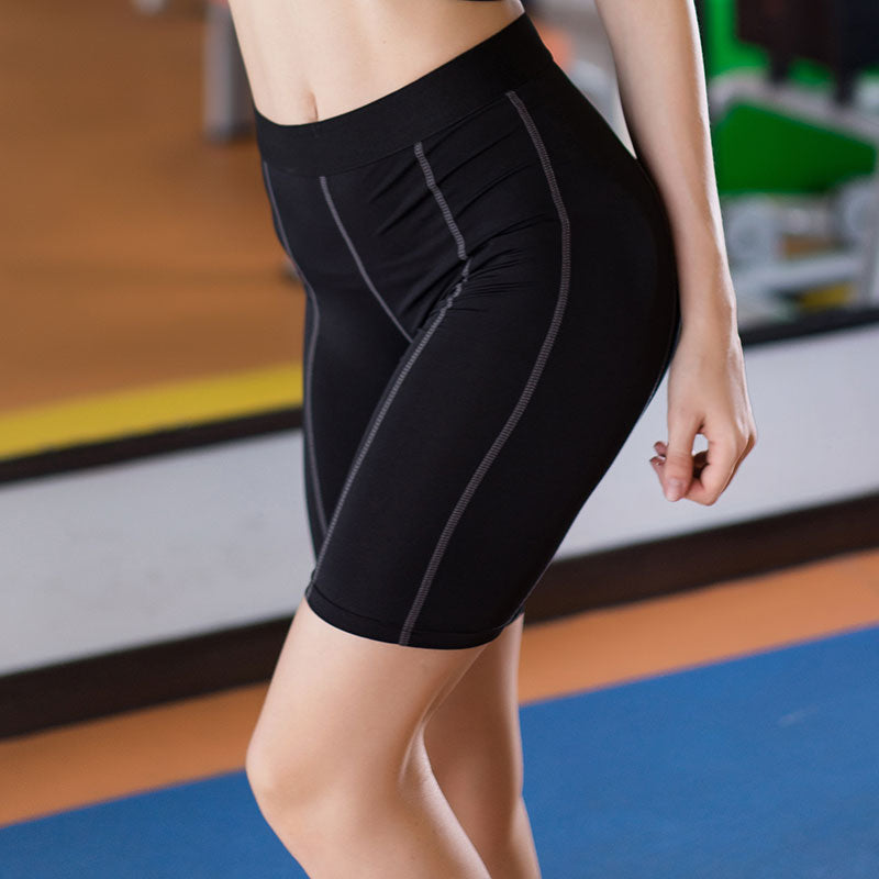 Yuerlian Hot Compression Fitness Women Sports Short Girl Running Trousers Gym Wear Bodybuilding Slim Fit Black Yoga Shorts - yogastoreefw