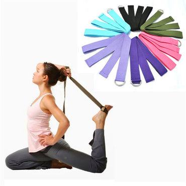 New Fitness Exercise Gym Yoga Stretch Strap D-Ring Belt Waist Leg 180CM Adjustable Sports Excerise Women Men Bodybulding #616 - yogastoreefw