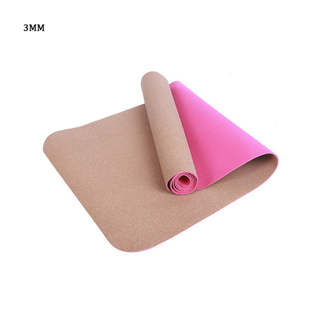 3MM/4MM/5MM/6MM/8MM Sports Yoga Mat TPE Cork Fitness Non-slip Eco-friendly Slip-resistant Hot Yoga Mats Exercise Pilates Workout - yogastoreefw