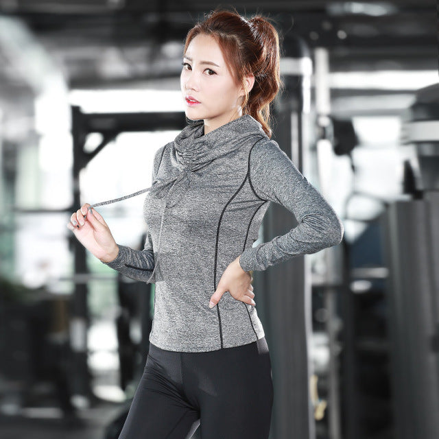 Eshtanga yoga shirts High Collar Women autumn long Sleeve Sports T Shirt Fitness Gym Running shirt Quick Dry Yoga elastic tops - yogastoreefw