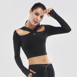 Sexy Cross Women Yoga Shirts Long Sleeve Padded Gym Shirts Fitness Clothing Female Sports Tops Slim Running Shirt Sportswear - yogastoreefw